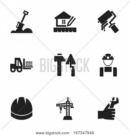 Set Of 9 Editable Construction Icons. Includes Symbols Such As Construction Tools, Employee, Truck And More. Can Be Used For Web, Mobile, UI And Infographic Design.