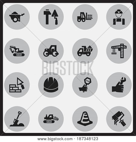 Set Of 16 Editable Construction Icons. Includes Symbols Such As Caterpillar, Employee, Truck And More. Can Be Used For Web, Mobile, UI And Infographic Design.
