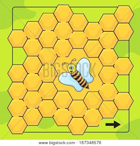 Bee and honeycomb game for Preschool Children. Help bee to walkthrough labyrinth. Funny maze game for kids