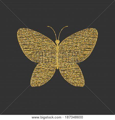 Decorative Golden shaded butterfly. Item for logo. Vector illustration.