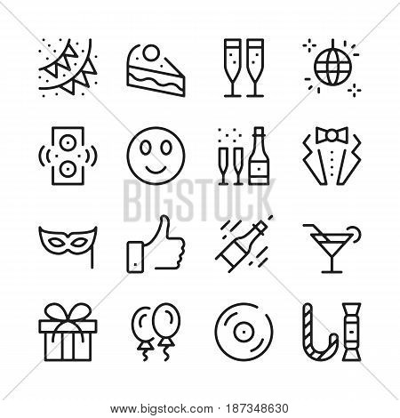 Celebration line icons set. Modern graphic design concepts, simple outline elements collection. Vector line icons