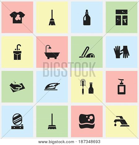 Set Of 16 Editable Dry-Cleaning Icons. Includes Symbols Such As Towel, Laundry Detergent, Cleanser And More. Can Be Used For Web, Mobile, UI And Infographic Design.