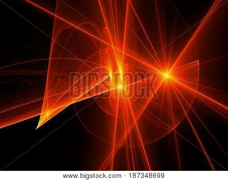 Fiery glowing spiral trajectories in space futuristic technology computer generated abstract background 3D rendering