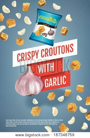 Crispy croutons ads. Vector realistic illustration of croutons with garlic. Vertical poster with product.