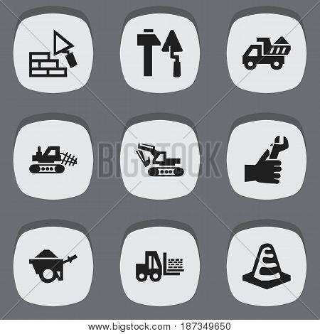 Set Of 9 Editable Structure Icons. Includes Symbols Such As Truck, Mule, Camion And More. Can Be Used For Web, Mobile, UI And Infographic Design.