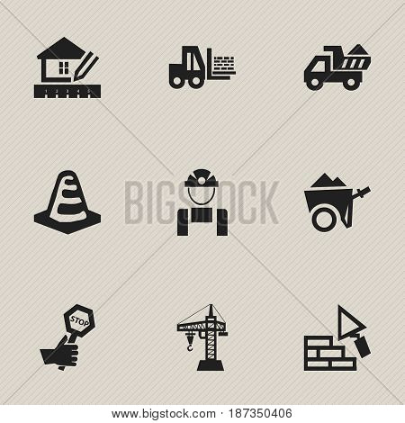 Set Of 9 Editable Structure Icons. Includes Symbols Such As Notice Object, Truck, Home Scheduling And More. Can Be Used For Web, Mobile, UI And Infographic Design.
