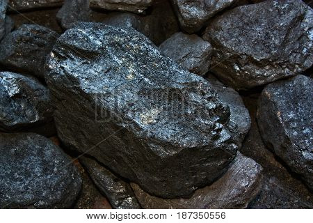 Pile of coal from mining nature mine