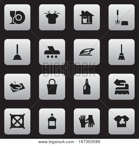 Set Of 16 Editable Cleaning Icons. Includes Symbols Such As Unclean Blouse, Towel, Pail And More. Can Be Used For Web, Mobile, UI And Infographic Design.