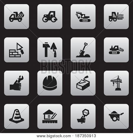 Set Of 16 Editable Structure Icons. Includes Symbols Such As Caterpillar, Spatula, Camion And More. Can Be Used For Web, Mobile, UI And Infographic Design.