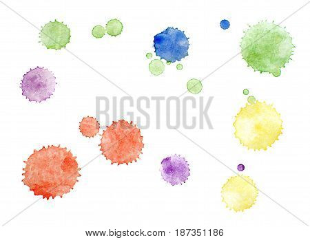 Set of watercolor blots isolated on white background. Green red purple yellow and blue colors.