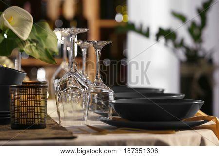 Table setting in restaurant, closeup