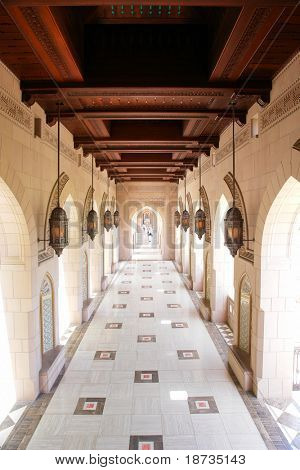 Muscat - Oman, Sultan Qaboos Grand Mosque - Courtyard poster