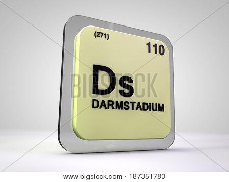 Darstadium - Ds - chemical element periodic table 3d illustration