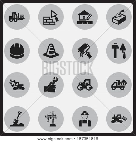 Set Of 16 Editable Structure Icons. Includes Symbols Such As Construction Tools, Excavation Machine , Hands. Can Be Used For Web, Mobile, UI And Infographic Design.