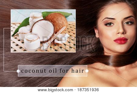 Coconut oil for hair. Cosmetic and young woman on background