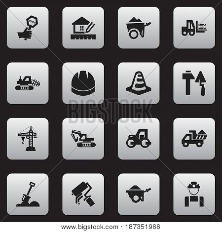 Set Of 16 Editable Building Icons. Includes Symbols Such As Oar, Employee, Construction Tools And More. Can Be Used For Web, Mobile, UI And Infographic Design.
