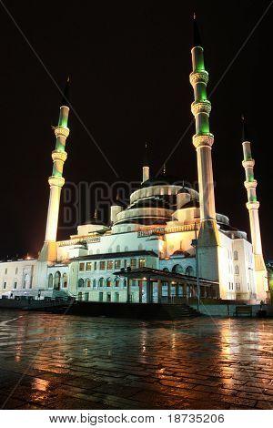 Kocatepe Mosque in Ankara, the capital city of Turkey - Night shot in a rainy day poster