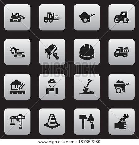 Set Of 16 Editable Building Icons. Includes Symbols Such As Mule, Scrub, Hands. Can Be Used For Web, Mobile, UI And Infographic Design.