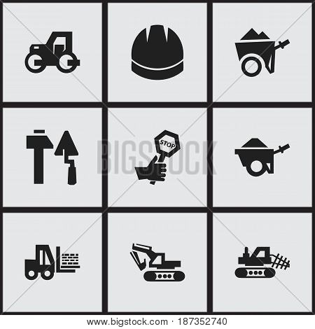 Set Of 9 Editable Structure Icons. Includes Symbols Such As Endurance, Mule, Construction Tools And More. Can Be Used For Web, Mobile, UI And Infographic Design.