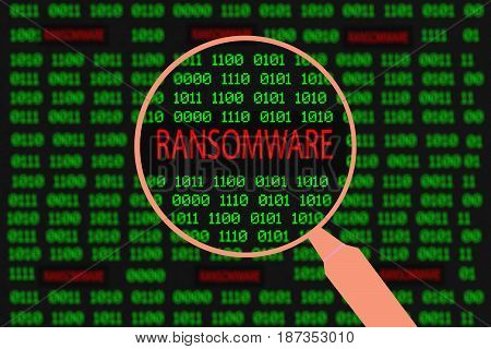 Magnifying glass enlarging ransomware in computer machine code