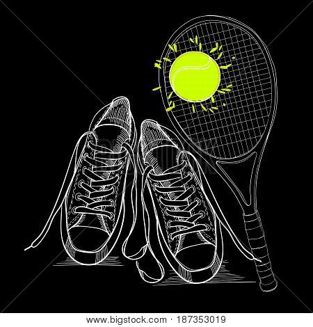 Vector illustraton of drawing isolated objects sneakers withtennis racquet and ball. Hand drawn and doodle footwear for logo.