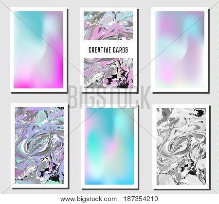 Artistic creative cards. Modern marbling and holographic trendy banners backgrounds. Fashionable cards design templates