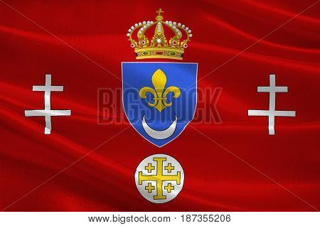 Flag of Calais is a town and major ferry port in northern France in the department of Pas-de-Calais. 3d illustration