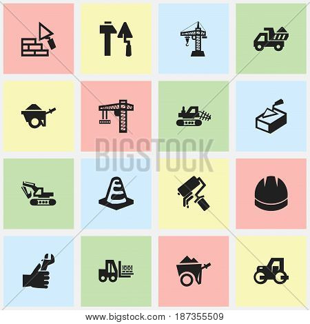 Set Of 16 Editable Structure Icons. Includes Symbols Such As Notice Object, Excavation Machine, Caterpillar And More. Can Be Used For Web, Mobile, UI And Infographic Design.