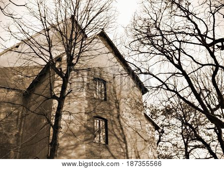 Creative abstract stylized view of old grunge abandoned house home or building