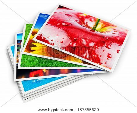 3D render illustration of the stack of colorful photo cards isolated on white background