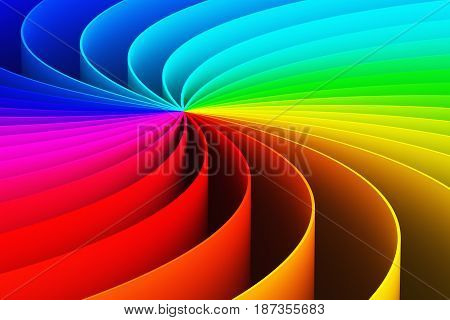 Creative abstract color spiral shape rainbow 3D render illustration wallpaper backgorund