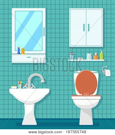 bathroom interior room with lavatory pan and washbasin. bathroom furnishing interior room illustration