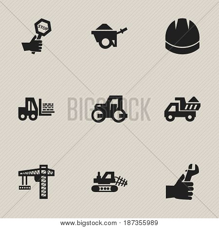 Set Of 9 Editable Building Icons. Includes Symbols Such As Mule, Trolley, Hardhat And More. Can Be Used For Web, Mobile, UI And Infographic Design.