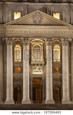 Main entrance of basilica of Saint Peter in Rome. Vatican City. Italy. Pope seat. Night time. Majestic religious building destination of many Christian religious pilgrims from all over the world