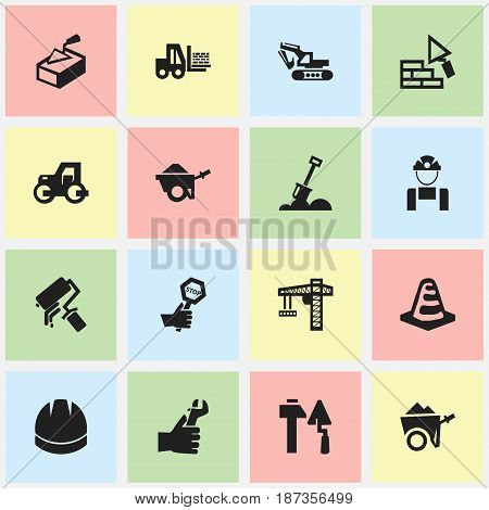 Set Of 16 Editable Structure Icons. Includes Symbols Such As Facing, Endurance, Truck And More. Can Be Used For Web, Mobile, UI And Infographic Design.