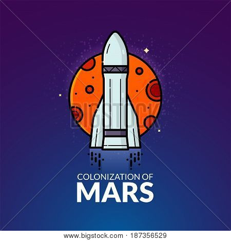 Colonization of Mars, concept design, vector illustration