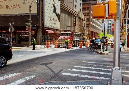 New York City, Usa - 04, 2017 : Road Construction And Road Works In Manhattan