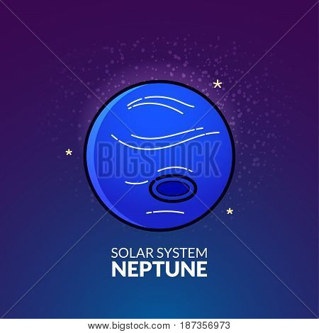 Outer planet Neptune, Solar System object, vector illustration in outline style