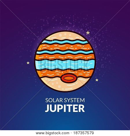 Outer planet Jupiter, Solar System object, vector illustration in outline style