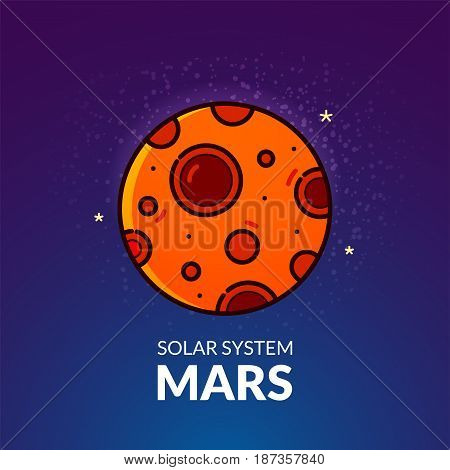 Terrestrial planet Mars, Solar System object, vector illustration in outline style