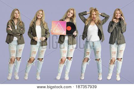 Young Women Set Gesture Standing Studio Portrait Isolated