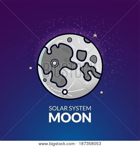 Natural Earth's Moon, Solar System object, vector illustration in outline style
