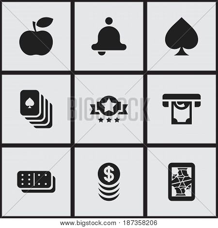 Set Of 9 Editable Game Icons. Includes Symbols Such As Game Card, Badge, Printer And More. Can Be Used For Web, Mobile, UI And Infographic Design.