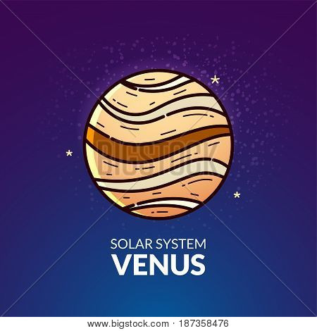 Terrestrial planet Venus, Solar System object, vector illustration in outline style