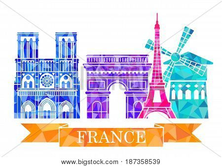 Architectural sights of Paris in a polygon style