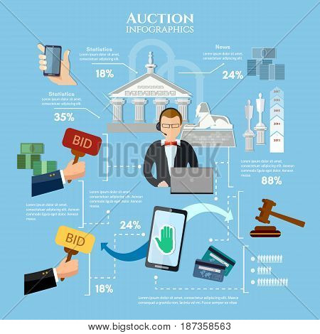 Auction and bidding infographics antiques art object culture. Electronic online auction concept vector illustration