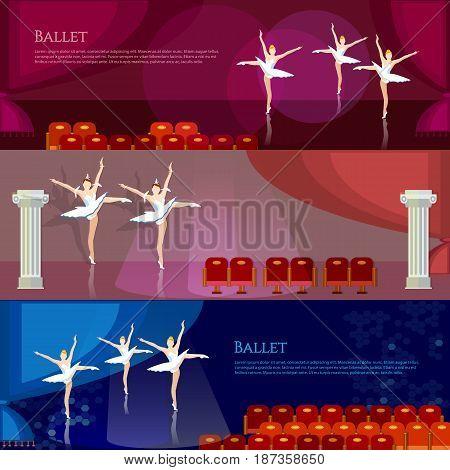 Ballet banners ballerinas ballet dancing on theater stage vector