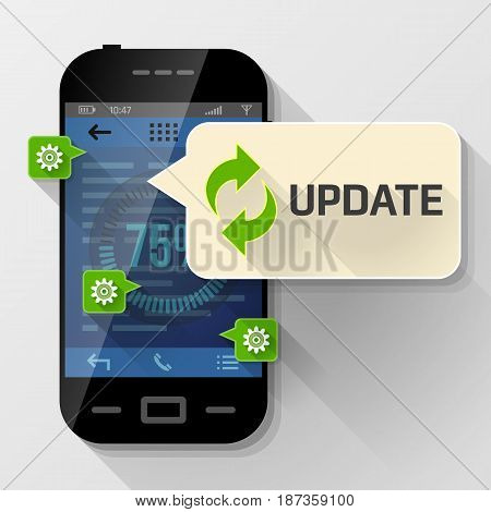 Smartphone with message bubble about update. Dialog box pop up over screen of phone. Best vector image about smartphone, communication, mobile technology, notification, application prompting, etc