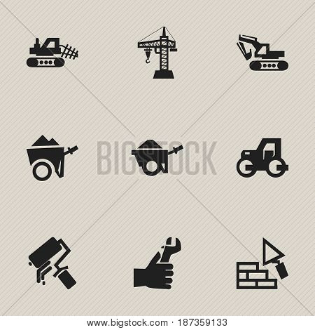 Set Of 9 Editable Structure Icons. Includes Symbols Such As Facing, Trolley , Handcart. Can Be Used For Web, Mobile, UI And Infographic Design.