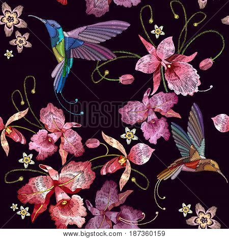 Humming bird and orchid exotic tropical flowers seamless pattern. Template for clothes embroideries t-shirt design. Beautiful classical embroidery humming-bird orchids flowers